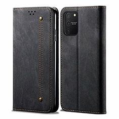 Samsung Galaxy S10 Lite用手帳型 布 スタンド サムスン ブラック