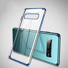 Samsung Galaxy S10 Plus用極薄ソフトケース シリコンケース 耐衝撃 全面保護 クリア透明 S04 サムスン ネイビー