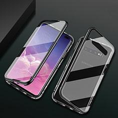 Samsung Galaxy S10 Plus用ケース 高級感 手触り良い アルミメタル 製の金属製 360度 フルカバーバンパー 鏡面 カバー T08 サムスン ブラック