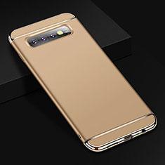 Samsung Galaxy S10 Plus用ケース 高級感 手触り良い メタル兼プラスチック バンパー T01 サムスン ゴールド