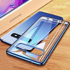 Samsung Galaxy S10 Plus用極薄ソフトケース シリコンケース 耐衝撃 全面保護 クリア透明 H03 サムスン ネイビー