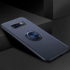 Samsung Galaxy S10 Plus用極薄ソフトケース シリコンケース 耐衝撃 全面保護 アンド指輪 マグネット式 バンパー サムスン ネイビー