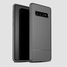 Samsung Galaxy S10 Plus用シリコンケース ソフトタッチラバー ツイル カバー サムスン グレー