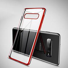 Samsung Galaxy S10 Plus用極薄ソフトケース シリコンケース 耐衝撃 全面保護 クリア透明 H02 サムスン レッド
