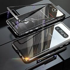Samsung Galaxy S10 Plus用ケース 高級感 手触り良い アルミメタル 製の金属製 バンパー 鏡面 カバー A01 サムスン ブラック