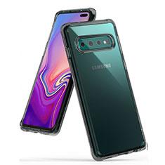Samsung Galaxy S10 Plus用極薄ソフトケース シリコンケース 耐衝撃 全面保護 クリア透明 S01 サムスン グレー