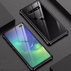 Samsung Galaxy S10 Plus用ケース 高級感 手触り良い アルミメタル 製の金属製 バンパー 鏡面 カバー サムスン ブラック