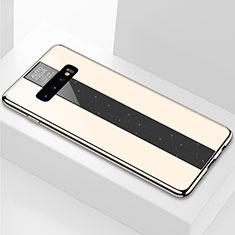 Samsung Galaxy S10 Plus用ハイブリットバンパーケース プラスチック 鏡面 カバー A01 サムスン ゴールド