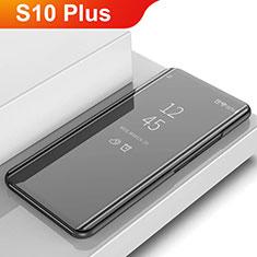 Samsung Galaxy S10 Plus用手帳型 レザーケース スタンド カバー 鏡面 カバー L02 サムスン ブラック