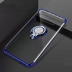 Samsung Galaxy S10 Plus用極薄ソフトケース シリコンケース 耐衝撃 全面保護 クリア透明 アンド指輪 マグネット式 S01 サムスン ネイビー