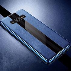 Samsung Galaxy S10 Plus用シリコンケース ソフトタッチラバー レザー柄 A01 サムスン ネイビー