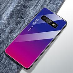 Samsung Galaxy S10 Plus用ハイブリットバンパーケース プラスチック 鏡面 虹 グラデーション 勾配色 カバー A01 サムスン ローズレッド