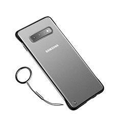 Samsung Galaxy S10 Plus用極薄ケース クリア透明 プラスチック 質感もマットU01 サムスン ブラック