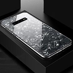 Samsung Galaxy S10 Plus用ハイブリットバンパーケース プラスチック 鏡面 カバー U01 サムスン ブラック