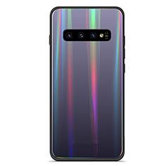 Samsung Galaxy S10 Plus用ハイブリットバンパーケース プラスチック 鏡面 虹 グラデーション 勾配色 カバー A02 サムスン ブラック