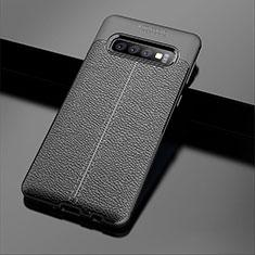 Samsung Galaxy S10 Plus用シリコンケース ソフトタッチラバー レザー柄 A02 サムスン ブラック