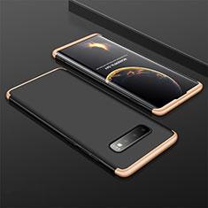 Samsung Galaxy S10 Plus用ハードケース プラスチック 質感もマット 前面と背面 360度 フルカバー M01 サムスン ゴールド・ブラック