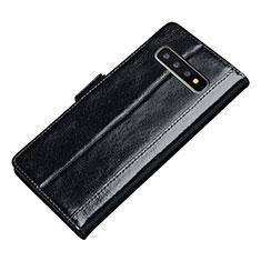 Samsung Galaxy S10 Plus用手帳型 レザーケース スタンド カバー P01 サムスン ブラック