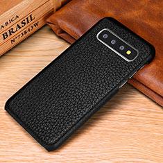 Samsung Galaxy S10 Plus用ケース 高級感 手触り良いレザー柄 P01 サムスン ブラック