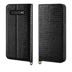 Samsung Galaxy S10 Plus用手帳型 レザーケース スタンド カバー P04 サムスン ブラック