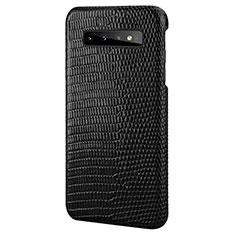 Samsung Galaxy S10 Plus用ケース 高級感 手触り良いレザー柄 P02 サムスン ブラック