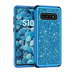 Samsung Galaxy S10 Plus用ハイブリットバンパーケース ブリンブリン カバー 前面と背面 360度 フル サムスン ネイビー