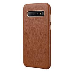 Samsung Galaxy S10 Plus用ケース 高級感 手触り良いレザー柄 P03 サムスン ブラウン