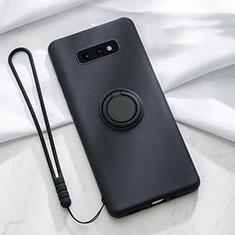 Samsung Galaxy S10e用極薄ソフトケース シリコンケース 耐衝撃 全面保護 アンド指輪 マグネット式 バンパー T02 サムスン ブラック