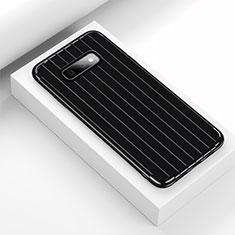 Samsung Galaxy S10e用シリコンケース ソフトタッチラバー ライン カバー C01 サムスン ブラック