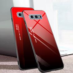 Samsung Galaxy S10e用ハイブリットバンパーケース プラスチック 鏡面 虹 グラデーション 勾配色 カバー H02 サムスン レッド