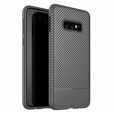 Samsung Galaxy S10e用シリコンケース ソフトタッチラバー ツイル カバー Y02 サムスン ブラック