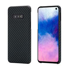 Samsung Galaxy S10e用炭素繊維ケース ソフトタッチラバー ツイル カバー T01 サムスン ブラック