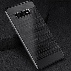 Samsung Galaxy S10e用シリコンケース ソフトタッチラバー ライン カバー C02 サムスン ブラック