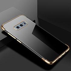 Samsung Galaxy S10e用極薄ソフトケース シリコンケース 耐衝撃 全面保護 クリア透明 S02 サムスン ゴールド