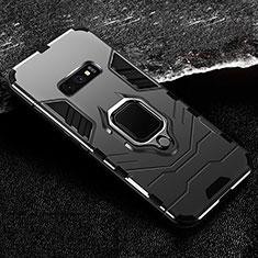 Samsung Galaxy S10e用ハイブリットバンパーケース プラスチック アンド指輪 マグネット式 R02 サムスン ブラック