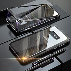 Samsung Galaxy S10e用ケース 高級感 手触り良い アルミメタル 製の金属製 360度 フルカバーバンパー 鏡面 カバー T02 サムスン ブラック