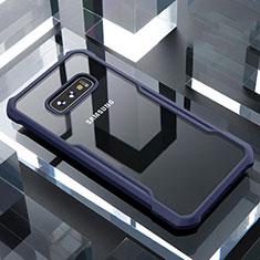 Samsung Galaxy S10e用ハイブリットバンパーケース クリア透明 プラスチック 鏡面 カバー サムスン ネイビー