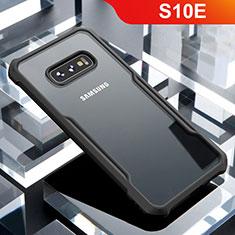 Samsung Galaxy S10e用ハイブリットバンパーケース クリア透明 プラスチック 鏡面 カバー サムスン ブラック