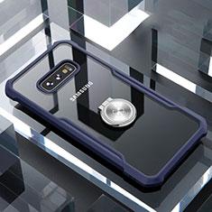 Samsung Galaxy S10e用360度 フルカバーハイブリットバンパーケース クリア透明 プラスチック 鏡面 アンド指輪 マグネット式 サムスン ネイビー