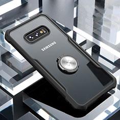 Samsung Galaxy S10e用360度 フルカバーハイブリットバンパーケース クリア透明 プラスチック 鏡面 アンド指輪 マグネット式 サムスン ブラック