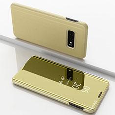 Samsung Galaxy S10e用手帳型 レザーケース スタンド カバー 鏡面 カバー サムスン ゴールド