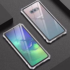 Samsung Galaxy S10e用ケース 高級感 手触り良い アルミメタル 製の金属製 バンパー 鏡面 カバー サムスン シルバー
