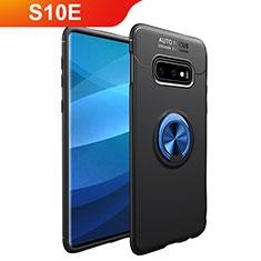 Samsung Galaxy S10e用極薄ソフトケース シリコンケース 耐衝撃 全面保護 アンド指輪 マグネット式 バンパー A01 サムスン ネイビー・ブラック