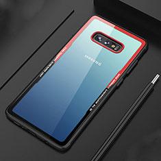 Samsung Galaxy S10e用ハイブリットバンパーケース クリア透明 プラスチック 鏡面 カバー M03 サムスン レッド