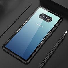 Samsung Galaxy S10e用ハイブリットバンパーケース クリア透明 プラスチック 鏡面 カバー M03 サムスン ブラック