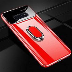 Samsung Galaxy S10e用ハードケース プラスチック 質感もマット アンド指輪 マグネット式 A01 サムスン レッド