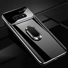 Samsung Galaxy S10e用ハードケース プラスチック 質感もマット アンド指輪 マグネット式 A01 サムスン ブラック
