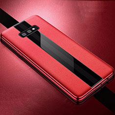 Samsung Galaxy S10e用シリコンケース ソフトタッチラバー レザー柄 S02 サムスン レッド