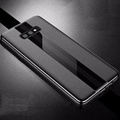 Samsung Galaxy S10e用シリコンケース ソフトタッチラバー レザー柄 S02 サムスン ブラック