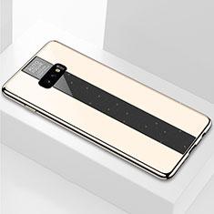 Samsung Galaxy S10e用ハイブリットバンパーケース プラスチック 鏡面 カバー M01 サムスン ゴールド